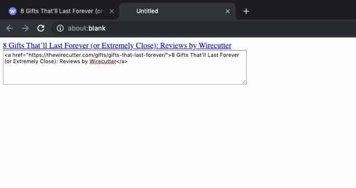 Create HTML Link Bookmarklet