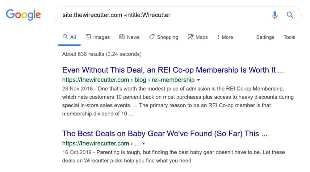 -intitle Google Search Operator