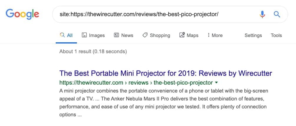 URL Index Status Google Search Operator